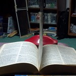 Page From Bible Standing Upright By Itself